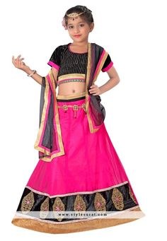 Attractive Pink And Black Color Net And Silk Fabric Girl's A-line Lehenga Choli