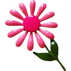 #Vintage #flowerpower jewelry at www.rubylane.com @rubylanecom -- Huge Pink Daisy Pin Vintage 1960s Flower Power Hippie Brooch