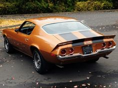 1971 Chevrolet Camaro Z28. Dad's car exactly, minus the black stripes and the fin.
