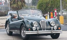 Harrison Ford prepares to take young son Liam for a spin in his vintage 1955 Jaguar XK 140 on Tuesday