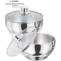 Vinod Cookware Double Wall Bowl With Glass Lid DWPBGL- 24 DETAILS Your table will never look more fancy. Stainless Steel bowls, facilitate hygine and health, yet keeping in an element of style in mind. Kitchen Aid Mixer, Kitchen Appliances, Kitchenware, Tableware, Elements Of Style, Serveware, Cookware, Dinnerware, Household