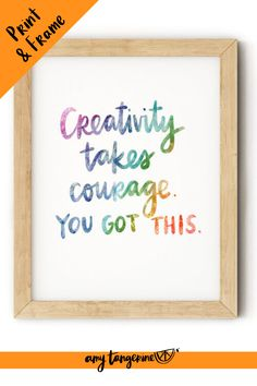 Download and print this colorful inspirational quote from Amy Tangerine.  This positive hand lettered quote would make great colorful wall art for your home office or craft room or any where in your home! Creativity quote | quotes about creativity | printable quote #amytangerine #quotes #printables Hand Lettering Quotes, Creative Lettering, Brush Lettering, Printable Quotes, Printable Stickers, Printing Services, Online Printing, Rainbow Quote, Creativity Quotes