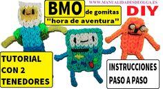 COMO HACER A BMO DE HORA DE AVENTURAS DE GOMITAS (LIGAS) CHARMS CON 2 TE...