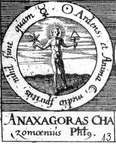 ALQUIMIA VERDADERA: Emblema 13. Anaxágoras, filósofo de ClazómenasEl ardiente sol, el alma de la luna y el espíritu del centro no son sino mercurio.