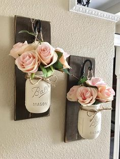 These rustic country style mason jar sconces are the perfect touch to your home decor. They bring warmth and beauty to any room. This listing is for 2 Sconces so for each quantity of one at checkout you are ordering one set of 2. LEAVE ME A NOTE IN THE NOTE TO SELLER BOX AT CHECKOUT WITH YOUR JAR COLOR IF YOU WOULD LIKE A DIFFERENT COLOR THAN WHAT IS PICTURED. THE NOTES TO SELLER BOX IS LOCATED IN YOUR CART UNDERNEATH THE ITEM YOU ARE PURCHASING. ;) {{{{{JARS ARE PAINTED IN CREAM}}}}…