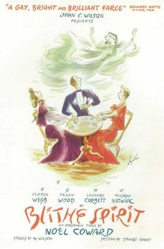 love this. PosterHunt.com - $9.99 - BLITHE SPIRIT - BROADWAY POSTER , 1943 #posters #dorm Broadway Posters, Movie Posters, Theatre Posters, Window Cards, Poster On, Drum Shade, Is 11, Chandelier Lighting, Linen Fabric