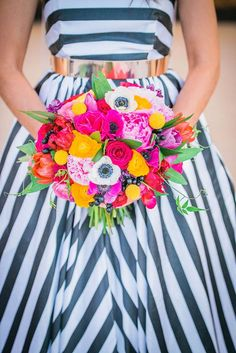 This Kate Spade inspired styled wedding shoot features the most magnificent black and white stripe bridal gown and colourful floral creations. Kate Spade Party, Wedding Trends, Trendy Wedding, Wedding Blog, Wedding Ideas, Wedding Shoot, Nautical Wedding, Wedding Stuff, Diy Wedding Planner