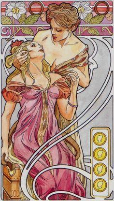 4 d'écus - Tarot art nouveau par Antonella Castelli