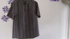 MENS NEXT MEDIUM CASUAL BROWN /GOLD  STRIPED  SHIRT LUXURY SOFT TOUCH  #Next…