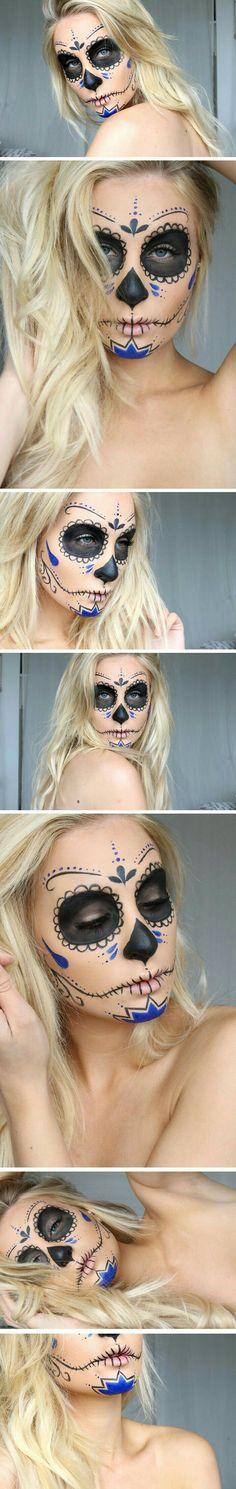 Helen Torsgården - Day of the Dead makeup Yeux Halloween, Halloween Inspo, Halloween Makeup Looks, Halloween Make Up, Vintage Halloween, Halloween Costumes, Candy Skull Makeup, Candy Skulls, Dead Makeup