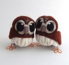 Owl Wedding Cake Topper Tawny Owl Pair in Natural Chestnut Brown