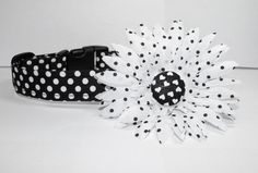 Black and White Valentine Dog Collar Flower Set by SewPawsitive, $17.00