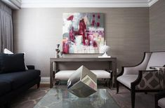 Jennifer Backstein Interiors - living rooms - living room, sofa, coffee table, area rug, drapery, decorative accessories, painting, grassclo...