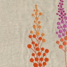 Embroidered fabrics from India, cotton and linen blend fabrics.
