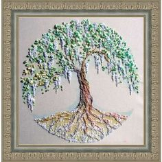 """Embroidered picture """"Tree of Life batik painting tree tree in the... ($50) ❤ liked on Polyvore featuring home, home decor, wall art, artificial trees, framed wall art, tree painting, tree picture and green wall art"""