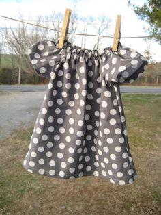 Infant Baby Boho Peasant Dress - Gray Polka Dot - Size 0 to 3 months #EasyNip