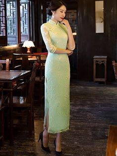 Green Floral Lace Qipao / Cheongsam Maxi Dress with Split