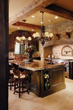 My dream kitchen! beautiful, rustic Kitchen Home Decor Home Design Home Decorating Home Party Ideas Furniture Decoration Ideas D. Style At Home, Italian Style Home, Cuisines Design, New Kitchen, Kitchen Ideas, Kitchen Island, Kitchen Rustic, Rustic Kitchens, Kitchen Layouts