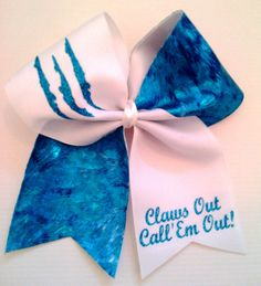 Claws Out Cheer Bow on 3 White Grosgrain by BritishBowtique, £7.50