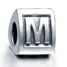 Sterling Silver Alphabet M Beads Charms  Fit pandora,trollbeads,chamilia,biagi,soufeel and any customized bracelet/necklaces. #Jewelry #Fashion #Silver# handcraft #DIY #Accessory