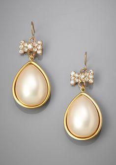 LENORA DAME Faux Pearl Teardrop Earrings with Bow