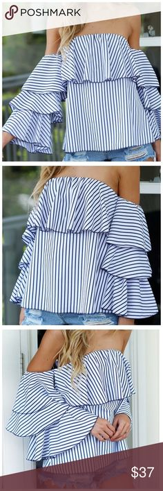 "Blue & White Ruffle Off The Shoulder Top Stripe Puff Sleeve Top  Retail $64  LOVE IT!!  I absolutely love this top!  Spectacular ruffled side sleeves give this top such a dramatic look! 65% cotton, 35% polyester.   XS/SMALL Bust up to 36"" Length of garment 19""  SMALL/MEDIUM Bust up ton38"" Length of garment 19"" Tops"