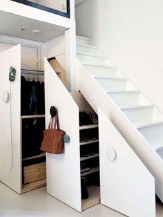 Stairs, Room, Interior design, Furniture, Footwear, Building, Door, Architecture, House, Loft, Interior Design Examples, Interior Ideas, Modern Interior, Ranch Style Homes, Stair Storage, Under Stairs, Loft Stairs, Farmhouse Homes, Furniture For Small Spaces