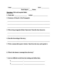 One Page Book Report Worksheet