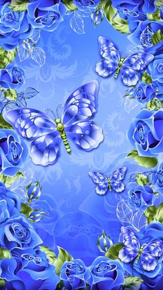 By Artist Unknown. Flowery Wallpaper, Flower Phone Wallpaper, Butterfly Wallpaper, Locked Wallpaper, Cellphone Wallpaper, Iphone Wallpaper, Beautiful Wallpapers For Iphone, Best Wallpapers Android, Blue Wallpapers