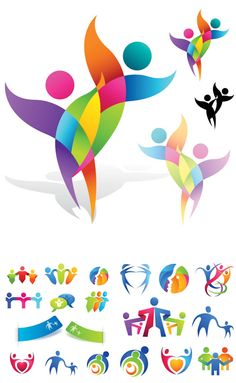 Logotypes with people vector Hosein Barazande