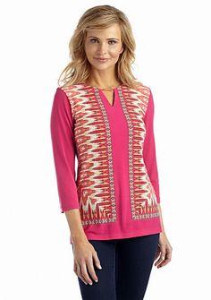 2cb16eae9ac57 Ruby Rd Three Quarter Sleeve Print Top  rubyrd  pink  pinktops  summer