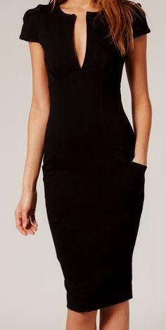 Ponti Pencil Dress Black Designer ASOS Celeb Favorite Tailored Stretch 15-C71 M