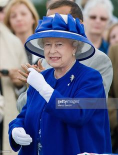 Queen Elizabeth II attends the Egham Guards Royal Windsor Cup Final held at the…