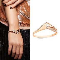 IRIS Mode Hinged Bangle $13,500 Rose Gold Diamond 2.15 ct