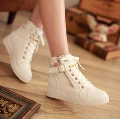 - Trendy rivet ankle strap zip stylish sneakers for the stylish fashionista - Trendy design offers a unique stylish look - Great for the workplace or casual outings - Made from PU - Available in 7 col Girls Sneakers, Girls Shoes, Sneakers Fashion, Fashion Shoes, Women's Shoes Sneakers, Shoes Women, Shoes Sandals, Ankle Shoes, Wedge Shoes