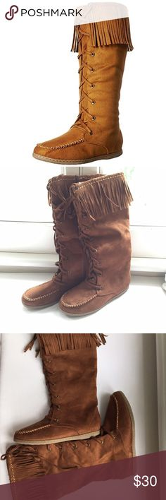Faux Suede Fringe Moccasin Boots These boots are great for upcoming fall and winter! Pair with a cute skirt or wear over leggings for a warm and cozy look. Brand new with box:) Soda Vinery- Charlotte Russe Shoes Lace Up Boots