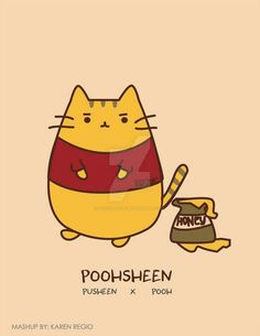 Pusheen (or Poohsheen) Gato Pusheen, Pusheen Love, Crazy Cat Lady, Crazy Cats, I Love Cats, Cute Cats, Hamster, Kawaii Cat, Pooh Bear
