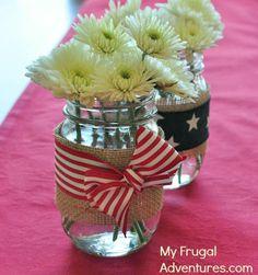 Burlap Mason jars for Memorial Day or 4th of July patriotic celebrations!