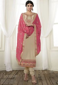 Beige and pink designer indian suit with embroidered dupatta - Desi Royale