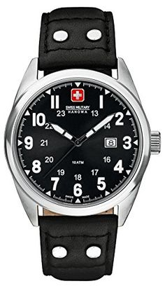 Swiss Military - 6-4181.04.007 Herren-Armbanduhr Anastasie Quarz analog Leder Schwarz - http://uhr.haus/swiss-military/swiss-military-6-4181-04-007-herren-armbanduhr