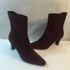 Aquatalia Marvin K Side Zip Ankle Boots Purple Eggplant Suede Womens Size 8 M