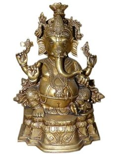 Chaturbhuj Lord Ganpati Seated Over Chowcki Brass Statue Elephant God Ganesha Sculpture 10 Inches by Mogul Interior, http://www.amazon.com/dp/B00A33J168/ref=cm_sw_r_pi_dp_nNNMqb0CWJYR8