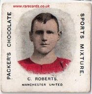 H.J. Packers chocolates sports mixture trade cards of footballers. Packer's confectioners from Bristol in the UK issued these cards around 1910. Card shown: Manchester United card of C.Roberts.