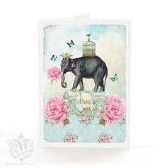 Elephant, Greeting Card, Paris, blue butterflies, bird cage, pink roses, gold crown, vintage wallpaper, blue, bird, gold crown