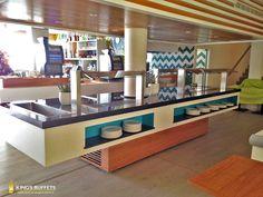 Plate Shelves, Pause Café, Electrical Installation, Ceramic Light, Breakfast Buffet, Lighting System, Round Corner, Hotels, Light Decorations