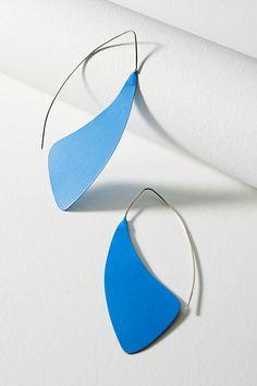 Slide View: 1: Painted Winged Hoop Earrings