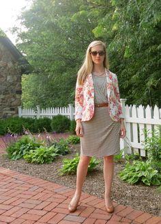 striped dress, floral blazer, tan belt and shoes #PinToRealLife
