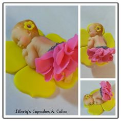 Fondant Baby - Fondant baby was made using a silicone mold. The tutu was made using gumpaste along with the flower . The stones are not edible.