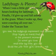 The Ladybug Quote - Under the Tuscan Sun Personal Developmental Quotes #Quote