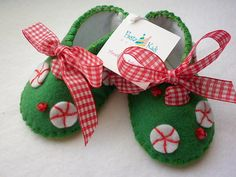 Green and red, baby girl booties with peppermints and gingham ribbon ties. First Christmas baby gifts for $24.50 at etsy.com